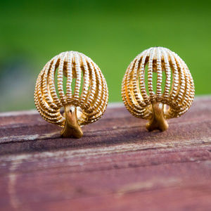 Monet Gold Tone Mushroom Clip Earrings